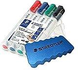 Staedtler Lumocolor 351 WP4 Whiteboard-Marker (Rundspitze ca. 2 mm Linienbreite, Set mit 4 Farben, hohe Qualität, trocken und rückstandsfrei abwischbar von Whiteboards)