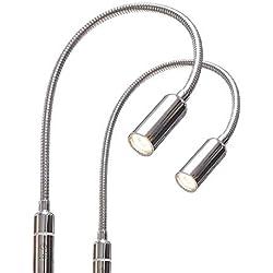 LED 4W Lumière de chevet à intensité variable, liseuse, lampe de chevet flexible 2er Set chrom