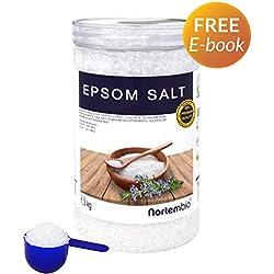 NortemBio Sel d'Epsom 1,3 Kg, Source concentrée de Magnésium, Sel 100% Naturel. Bain et Soins Personnels.