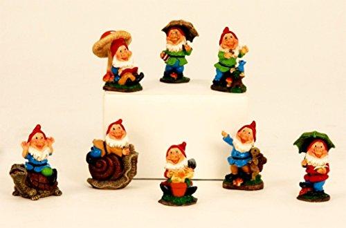 8 süße Gnome Zwerg Gartenzwerg rote Mütze 6,5 cm Figuren für Haus und Garten