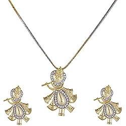 Raj Fashionn American Diamond Krishna Pendant Sets with Earrings for Women and Girls (Design-3)