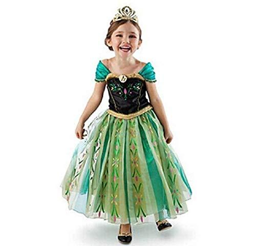 Anna Kostüm Green Dress Prinzessin - Prinzessin Anna ELSA Belle, Aurora-Kostüm, für Halloween, Party, Urlaub, 24 Monate Gr. 3-4 Jahre Höhe (105 cm), Stil 1