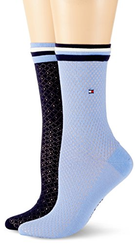 Tommy Hilfiger Damen Socken TH Women GLOBAL Welt 2P, 2er Pack, Mehrfarbig (Midnight Blue 563), 39/42