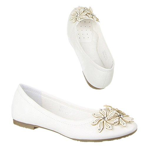 Damen Schuhe, B806-BL, BALLERINAS Weiß