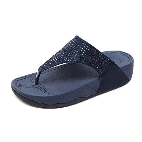 info for 3b543 a5ca0 Femmes Bohême Sandales à Talon Plate Été Boho Peep Clip Toe Chaussures De  Plage Vintage Strass Perlé Flip Flops Tongs Pantoufles