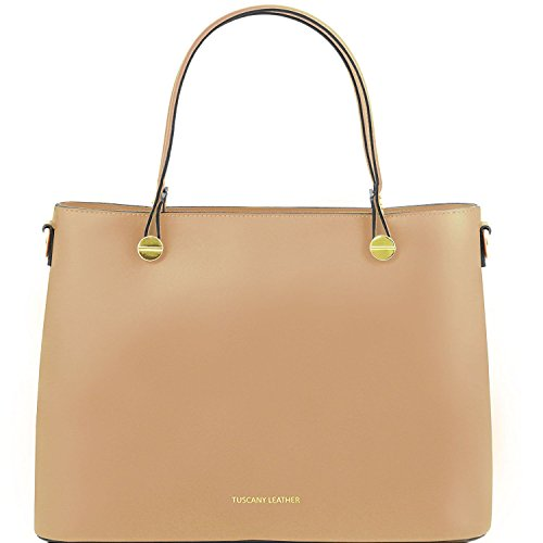 Tuscany Leather Atena - Sac cabas en cuir Ruga - TL141522 (Rouge) Taupe clair