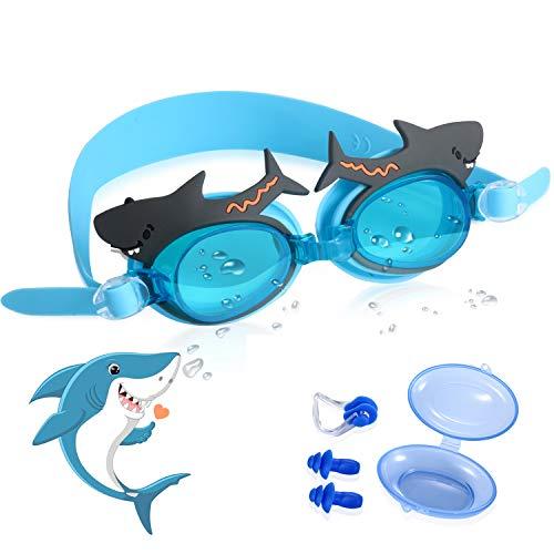 CybGene Niedliche Schwimmbrille Kinder, Weiche Silikondichtung Schwimmbrillen für Kinder 3-9 Jahre, UV-Schutz, Anti Nebel, mit Freiem Aufbewahrungskoffer, Ohrstöpsel & Nasenklammer (Hai)