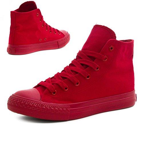 Klassische Unisex Damen Herren Schuhe Low High Top Sneaker Turnschuhe All Red High