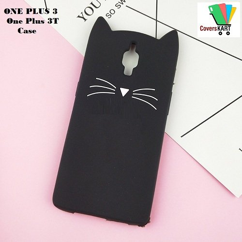 CoversKART [3D Cartoon Series] (Black) 3D Cute Cat Beard Silicone Case Cover Lovely Mobile Shell for One Plus 3/OnePlus 3t/1+3/1+3T