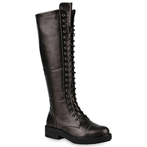 Damen Schuhe Stiefel Schnürstiefel Boots Plateau Vorne Leder-Optik GRAU METALLIC 37 Flandell Metallic-leder-boot