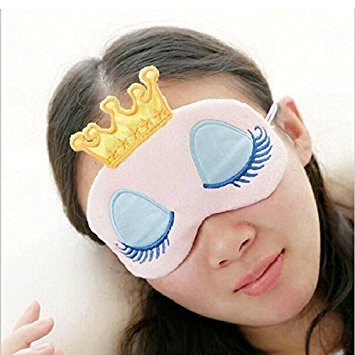 EQLEF® 17x11cm Girls Eye Cover Cartoon Crown Big Eyelash Office Sleep Eye Mask(2pcs)