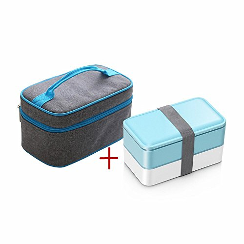 ZOORON Lunch Boxes with 2 Containers/Cutlery, Tote Box Set with Oxford Thermal Insulated Lunch Bags Ice Pack Food Carriers (B2)