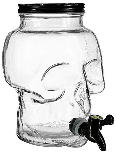 3 Liter Totenkopf Getränkespender aus Glas mit Zapfhahn und deckel - Saftspender Behälter Dispenser Getränke Spender -