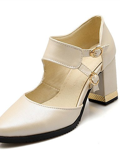 WSS 2016 Chaussures Femme-Mariage / Habillé / Décontracté / Soirée & Evénement-Rose / Blanc / Beige-Gros Talon-Talons-Talons-Similicuir white-us7.5 / eu38 / uk5.5 / cn38