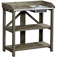 Dehner Gute Wahl Ottawa Table de jardinage en bois, pliable, env. 91x 85x 49cm, bois, marron