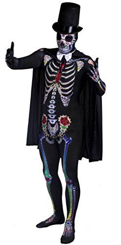 DAY OF THE DEAD SUGAR SKULL SKELETON COSTUME ANZUG HALLOWEEN-KOSTÜM FÜR HERREN-L DELUXE SCHWARZ SOMBRERO CAPE FILZ, WEISS MIT SATIN-SCHLEIFE, ILOVEFANCYDRESS ® MEXIKANISCHE SPANISCHEN SENOR DIA DE LOS MUERTO