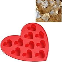 esailq 10rejilla barra de cubo de moldes y bandejas de silicona congelación Mold Pudding Jelly Chocolate de hielo molde forma de corazón rojo