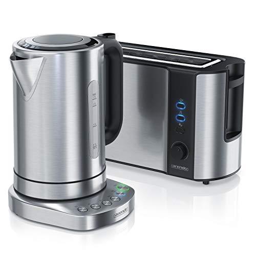 Arendo 1,7 Liter Edelstahl-Wasserkocher inkl. Basisstation und 4 Temperaturstufen PLUS 1000 W Langschlitztoaster mit 6 Bräungungsstufen und Doppelwandgehäuse