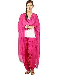 JAIPUR FASHION HUB Women's/Girl's 100% Pure Cotton Solid Full Patiyala salwar Pant With Dupatta Set (Free Size____Pink)