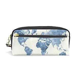 coosun Mapa del Mundo en acuarela azul estudiantes Gran Capacidad De PU Piel Estuche Escuela lápiz bolsa bolsa estacionario Caso de maquillaje Neceser