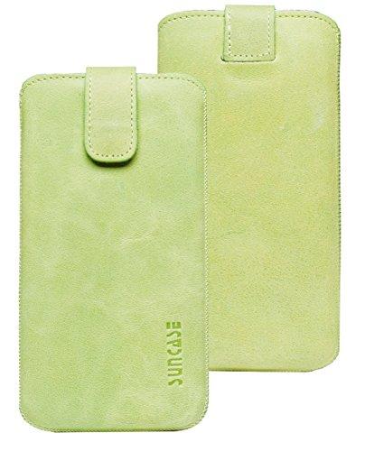 Suncase ECHT Ledertasche Leder Etui für iPhone 8 / iPhone 7 / iPhone 6s Tasche (mit Rückzugsfunktion und Magnetverschluss) rustik-tabak braun antik-kiwi grün