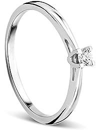 Orovi anillo de señora solitario 0.07 Ct diamantes en oro blanco de 9k ley 375