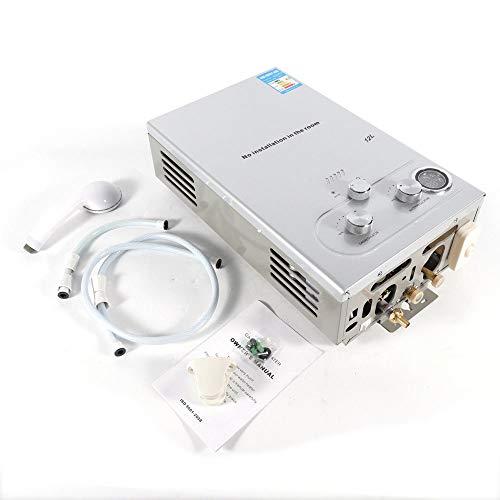 MOMOJA Warmwasserbereiter Durchlauferhitzer 12L Warmwasserspeicher mit Duschkopf und LCD Display -