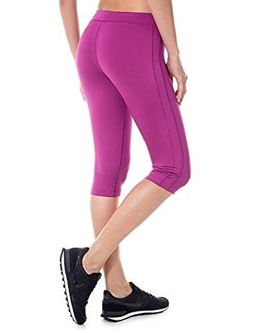 SYROKAN Damen Sports Leggings - Capri Tights Laufhose Sportshose Fuchsie 44 ( XL )