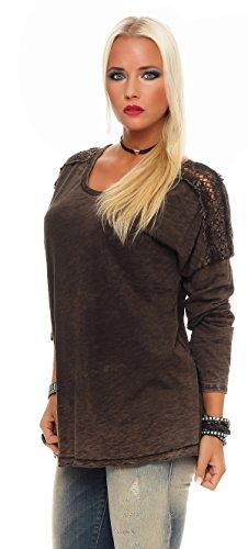 IKONA21 - Fashion Italy Damen Shirt Bluse Tunika Longshirt Sweatshirt Onesize S M L XL 36 38 40 42 44 500 074 Schwarzbraun