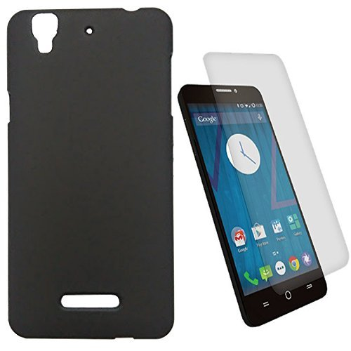 SDO Luxury Matte Finish Rubberised Slim Hard Case Back Cover for Micromax YU Yureka Plus - Black with Clear Screen Guard