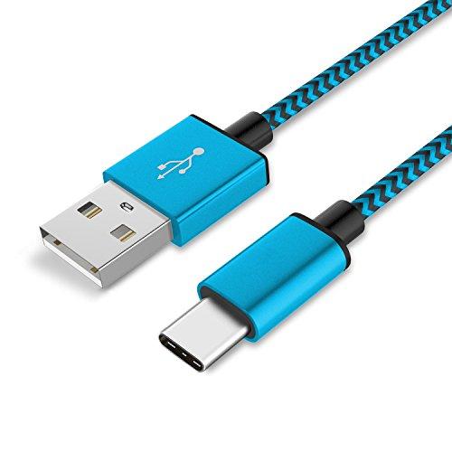 Preisvergleich Produktbild 1 x Sony Xperia XZ Datenkabel / Ladekabel / USB C Premium Kabel in Blau - 1 Meter - von THESMARTGUARD