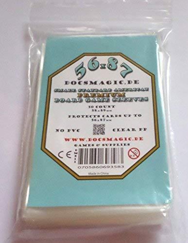docsmagic.de 50 Premium Small Standard American Board Game Sleeves - 56 x 87 - US - 58 x 89 - Brettspielhüllen