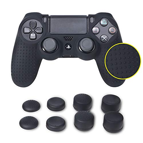 Funda protectora antideslizante para Sony PS4 / PS4 Slim / PS4 Pro Dualshock 4 Controller + FPS PRO Thumb Grips Caps x 8