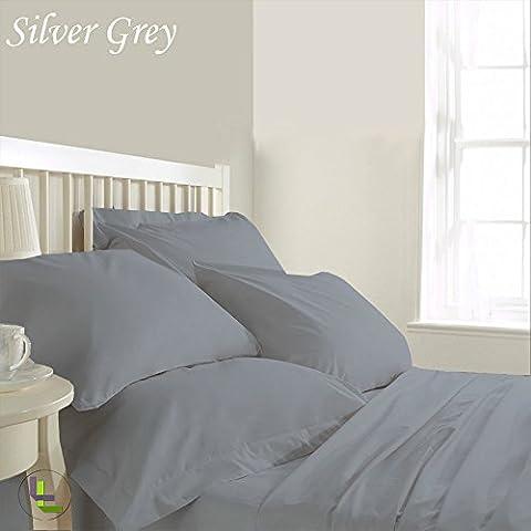 """600TC 100% cotone egiziano, confezione da 6 pezzi, elegante finitura WaterBed, Set di lenzuola, dimensioni: 50,80 (20"""") cm), Cotone, Silver Grey Solid, EU_King"""