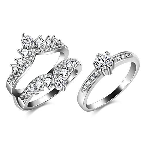 Uloveido Frauen Weißes Gold Überzogen Filigrane Vintage Crown Hochzeit Ring Wache CZ Jahrestag Verlobungsring Enhancer (59 (18.8)) (Ring Vintage Hochzeit Gold Guard)
