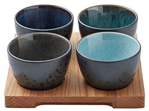 BITZ Tapas-Set/Dipschalen-Set/Snackschalen mit Tablett, 5-teilig, 4 Schälchen aus Steingut, 1 Tablett aus Eichenholz