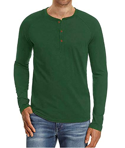 Cyiozlir Herren T-Shirt Langarmshirt mit Grandad-Ausschnitt und Knopfleiste Premium Slim Fit Longsleeve Langarm Shirt für Männer(Grün,X-Large)