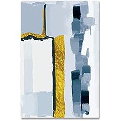 PLDZSH Tríptico Impresiones de mármol Azul Marino de Acuarela y póster Pinturas de Lienzo Cuadros de Arte de Pared para Sala de Estar Decoración de hogar de Oficina, 21x30cm A4 sin Marco, C