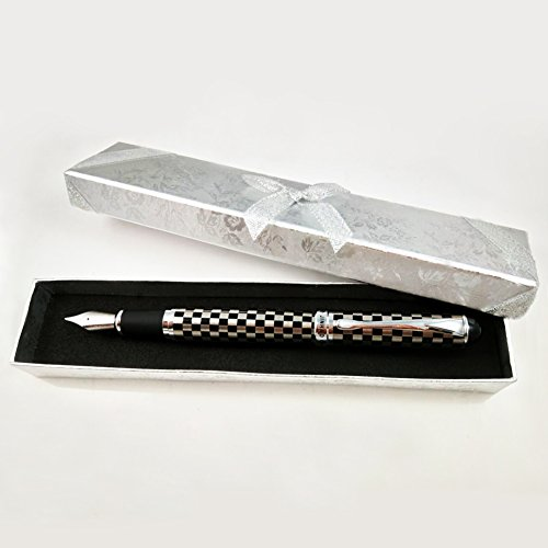 Jinhao X750Füllfederhalter Glatte Schreiben Silber Trim M Feder 18KGP (Schachbrett)