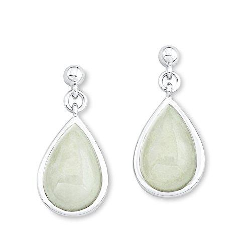 s.Oliver Damen-Ohrhänger 925 Silber rhodiniert Jade grün - 526166