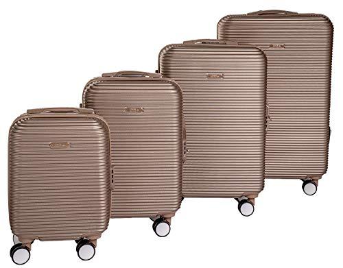 Enrico Coveri Moving Set Quattro Trolley da Viaggio Oro, Valigie Rigide ABS in Quattro Dimensioni