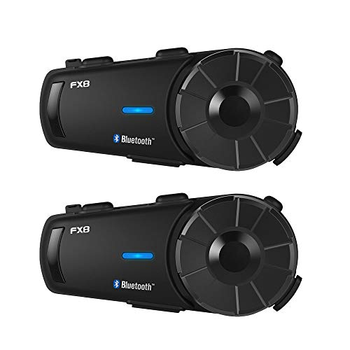 Fodsports Motorrad Intercom Helm Headset Gegensprechanlage, mit FM Kommunikationssystem,Wasserdicht Vollduplex, für Siri Google Assistant, bis zu 8 Reiters, für Fahrrad,Off-Road Kommunikationssysteme