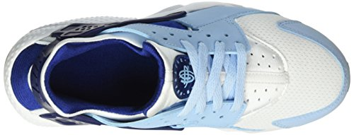 Nike Huarache Run (Gs), Chaussures de Course Fille Blanco (White / Deep Royal Blue-Bluecap-Black)