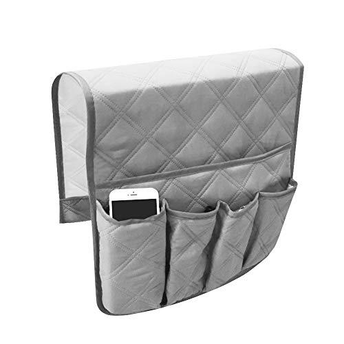 e Sofa Armlehne Organizer, Durable Soft Caddy Organizer Couch Stuhl Armlehne Aufbewahrungstaschen Tasche für Mobiltelefon Tabletten Zeitschriften Gläser Snacks Beutel (Grey) ()