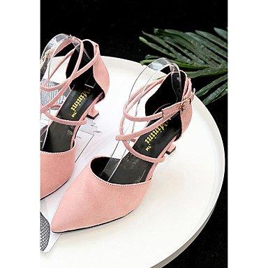 RTRY Donna Sandali Suole Di Luce Cadono A Molla Pu Abbigliamento Casual Fibbia Tacco Gattino Arrossendo Rosa Beige Giallo Nero 1A-1 3/4In US6 / EU36 / UK4 / CN36
