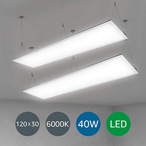 LE 120x30cm LED Panelleuchten Deckenleuchte Büroleuchte, Kaltweiß/6000K/4000lm/40W, ersetzt 80W Leuchtstoffröhren, 2er Pack -