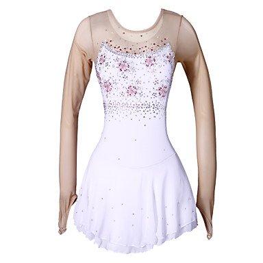 Heart&M Eiskunstlaufkleider Damen Mädchen Langarm Eislaufen Röcke Kleider Hochelastisch Eiskunstlauf-Kleid Handgemacht Dehnbar Strass Blumig , (2017 Kostüme Wettbewerbs Tanz)