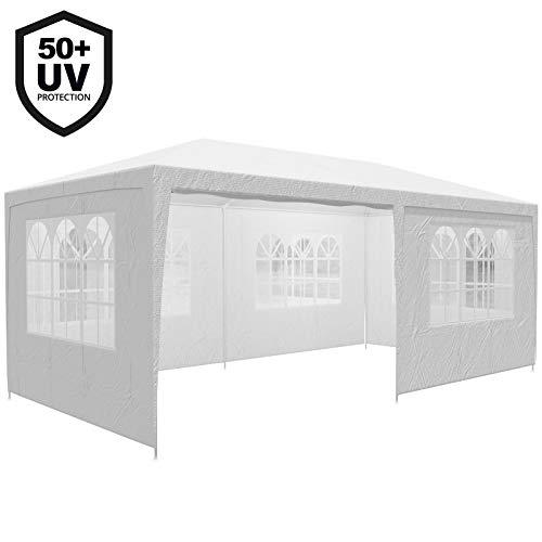 Deuba Festzelt Rimini 3x6m UV-Schutz 50+ 18m² 6 Seitenteile wasserabweisend Pavillon Partyzelt Gartenzelt Festival Weiß