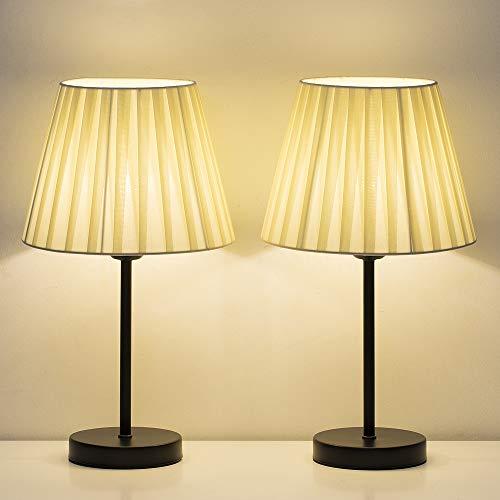 lámpara de mesa dormitorio lámparas de mesita de noche pequeñas, juego de 2 con pantalla de tela blanca, lámpara de mesilla de noche moderna para sala de estar beige