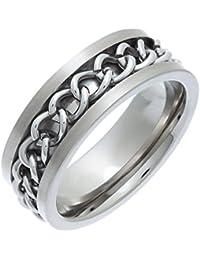 Theia Unisex-Ring Titan Flach Court Kette 8mm
